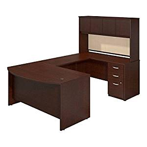 "Bush Bow Front U-Shaped Desk W/Hutch 60""W X 100""D X 66""H Features A Bow Front, A Hutch W/4 Doors, A Box/Box/File Pedestal & Tack Board - Mocha Cherry"