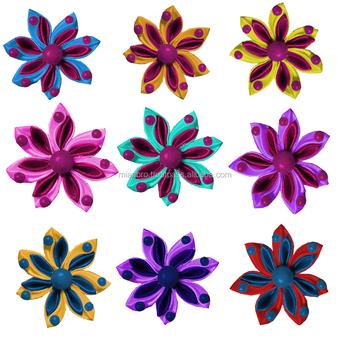 Custom Small Handmade Silk Ribbon Flowers For Girls Dressesbags