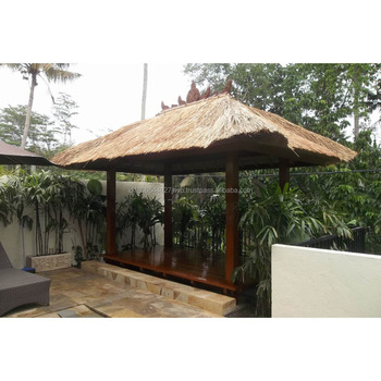 Elegant Outdoor Wooden Swimming Pool Gazebo With Thatched/Grass Roof