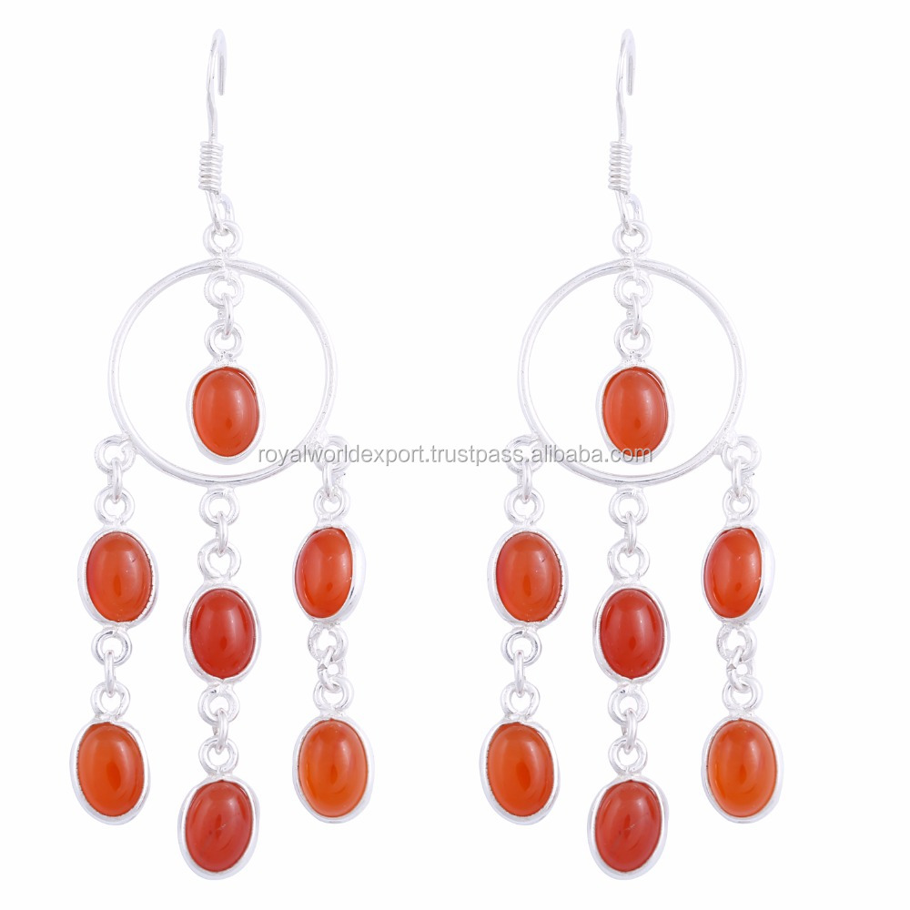 Hot sale gemstone silver dangle earring 925 Sterling silver earrings Red onyx chandelier silver earrings