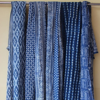 Women's Swimwear Pareos Block Printed Cotton Sarongs Indigo Beach Sarong Natural Color Indigo Sarong