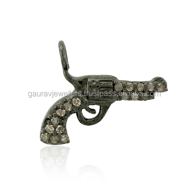 0.16ct Natural Pave Diamond 925 Sterling Silver Gun Charm Pendant Jewelry