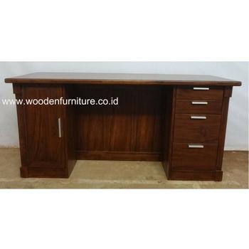 Teak Minimalist Desk Indonesia Wood Office Furniture