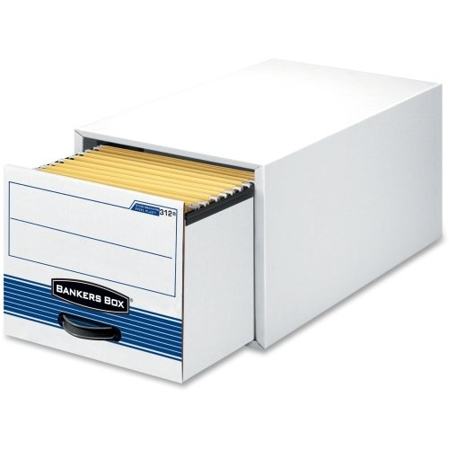 """Bankers Box Stor/Drawer Steel Plus - Legal - TAA Compliant - Internal Dimensions: 15.50"""" Width x 23.25"""" Depth x 10.38"""" Height - Stackable - Heavy Duty - External Dimensions: 17"""" Width x 25.5"""" Depth x 11.5"""" Height - Steel, Plastic - White, Blue - File, Document - 6 / Carton"""