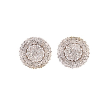 Indian Style Diamond Stud Cer Earrings In Yellow Gold