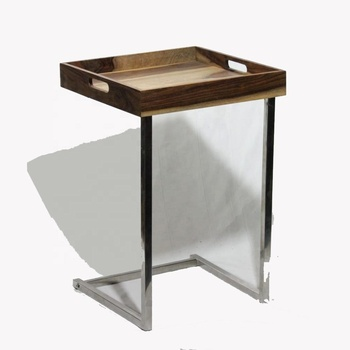 Stainless Steel Bed Side Table With Wooden Tray Top Bbq