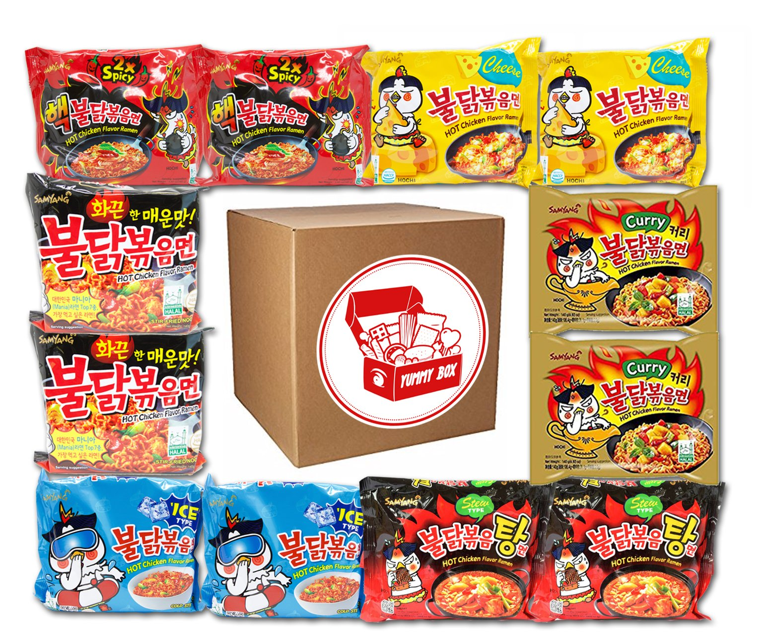 Samyang Ramen Spicy Hot Chicken Roasted Noodles Variety (12-Pack) | Hek Nuclear, Original, Cheese, Curry, Stew, Mala