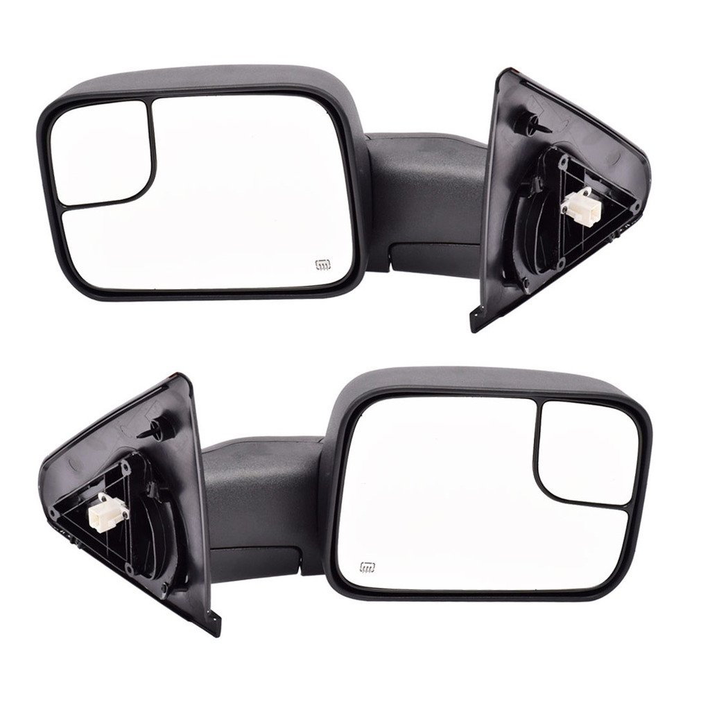 DEDC Dodge Tow Mirrors Dodge Ram Tow Mirrors Power Heated Manual Folding Pair For 02-08 1500 / 03-09 2500 3500 2002 2003 2004 2005 2006 2007 2008 2009
