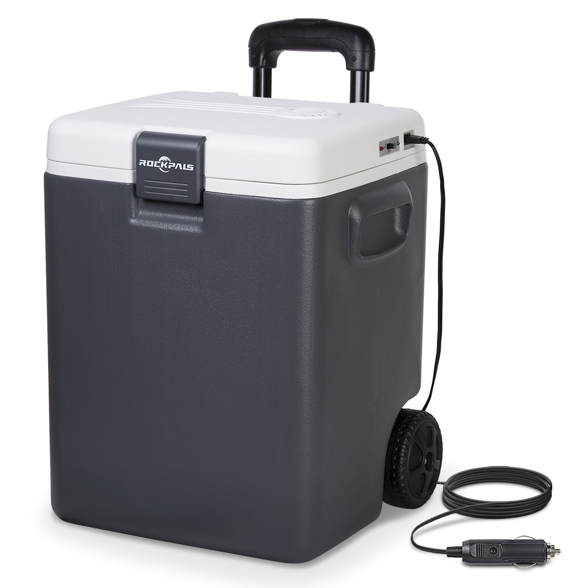 Rockpals 30 Quart Electric Cooler/Warmer On Wheels and Handle, Portable Thermoelectric Plug In Cooler Chiller with DC 12V Plug for Truck, Car, RV, Home, Office, Travel, Camping, Beach (GRAY)
