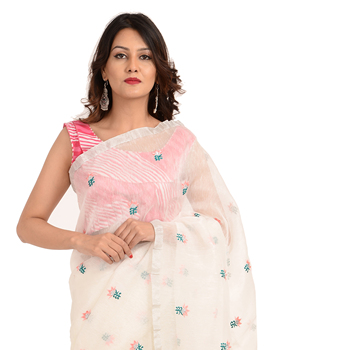 Linen Hand Painted Saree from Rajasthan latest designer party wear women Linen silk Indian Sarees