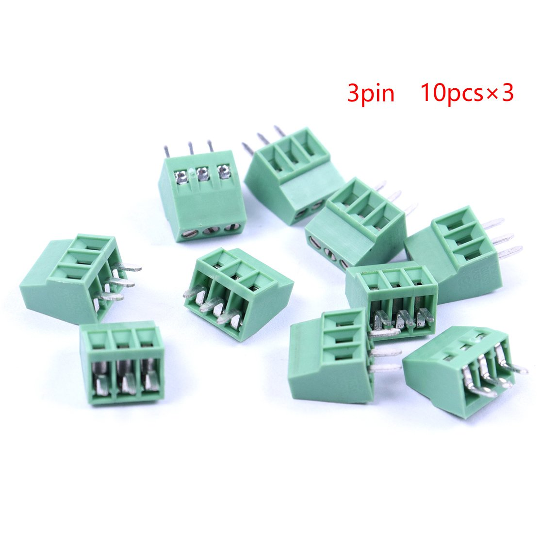 Atoplee  30pcs 3 Pole 2.54mm Pitch PCB Mount Screw Terminal Block Connector