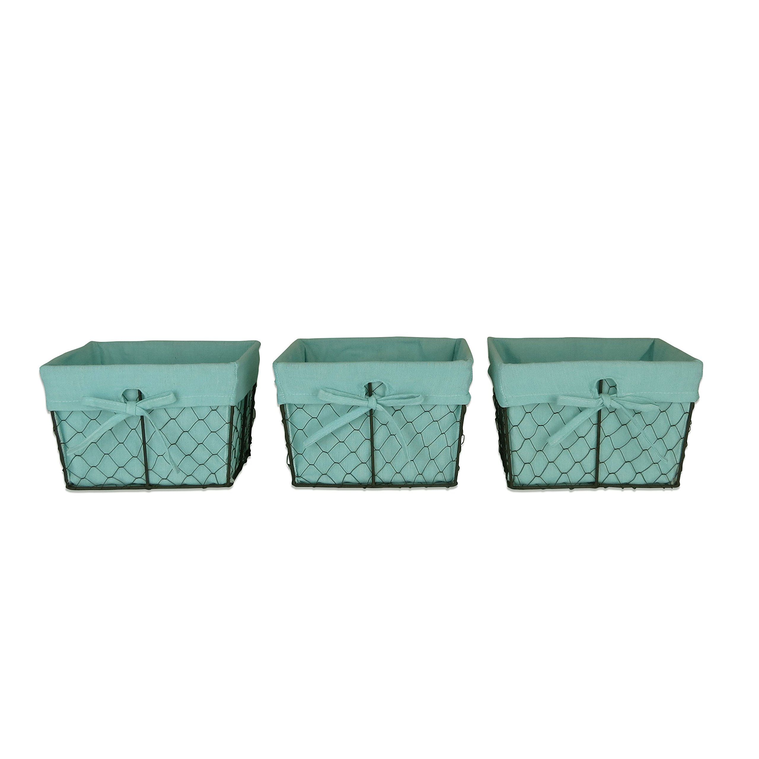 DII Traditions Vintage Food Safe Metal Chicken Wire Storage Baskets with Removable Fabric Liner for Home Décor or Kitchen Use, (Small-Set of 3), Aqua
