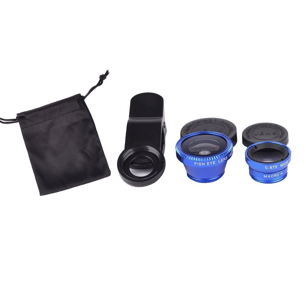 Blue Universal Clip-on 180 degree 3 in 1 Fisheye+Wide Angle+Macro Camera Lens for iPhone 5 5S 4 4S 6 Samsung Galaxy S5/S4/S3 Note 4/3/2 HTC Blackberry Bold Touch, Sony Xperia, Motorola Droid