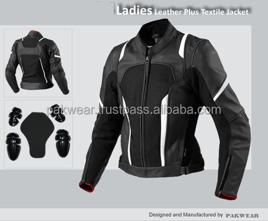 Ladies Motorbike leather + Textile jacket with all CE approved protection/ Style PW-501