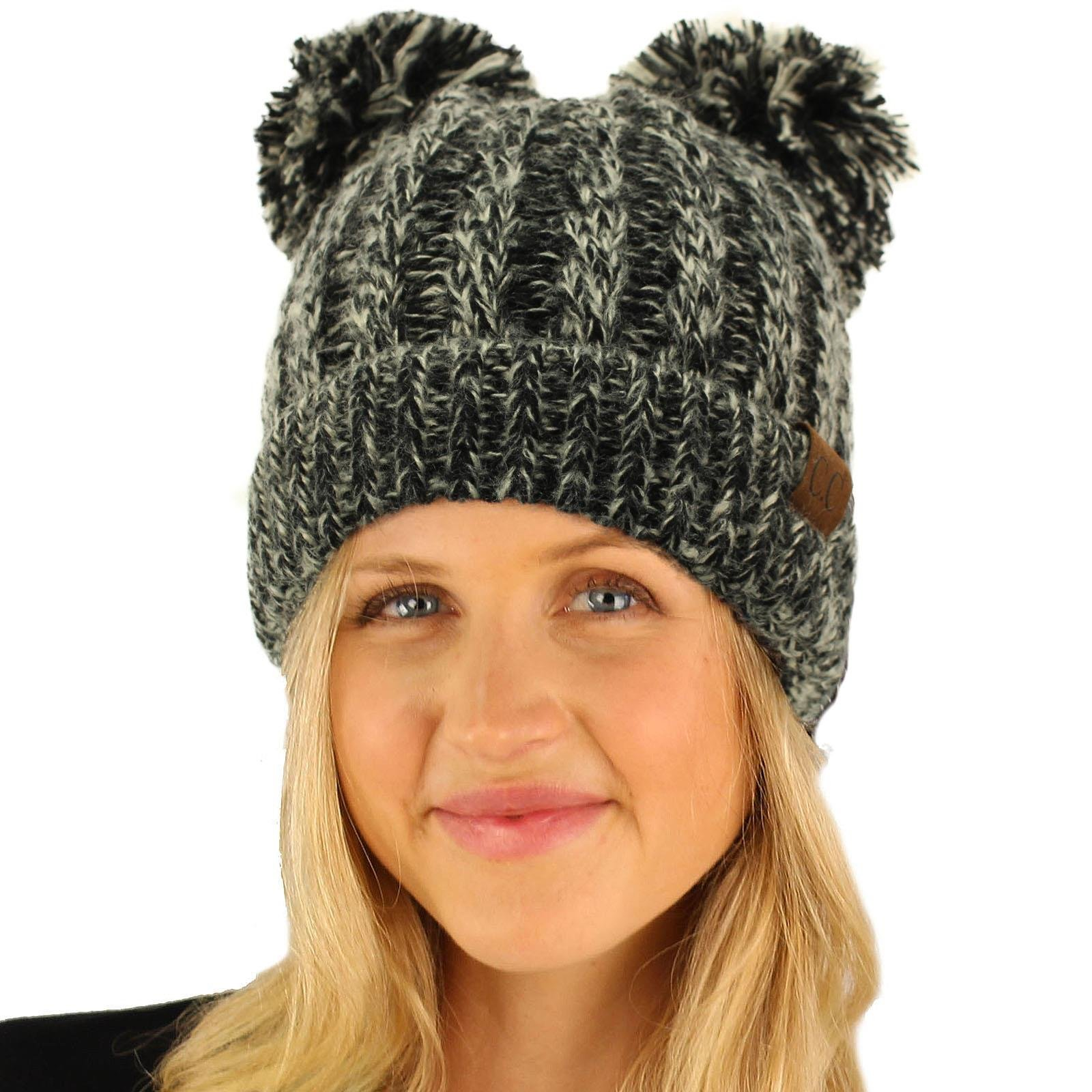 Get Quotations · CC Winter Cute 2Pom Pom Ears 2tone Soft Warm Thick Chunky Knit  Beanie Hat 8d17ba04414d