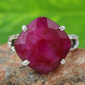 Delighting prong setting ruby gemstone 925 sterling silver ring jewelry handmade online gemstone ring