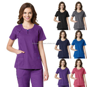 Women's Fashion Medical Nurse Scrub Zip Flattering Top