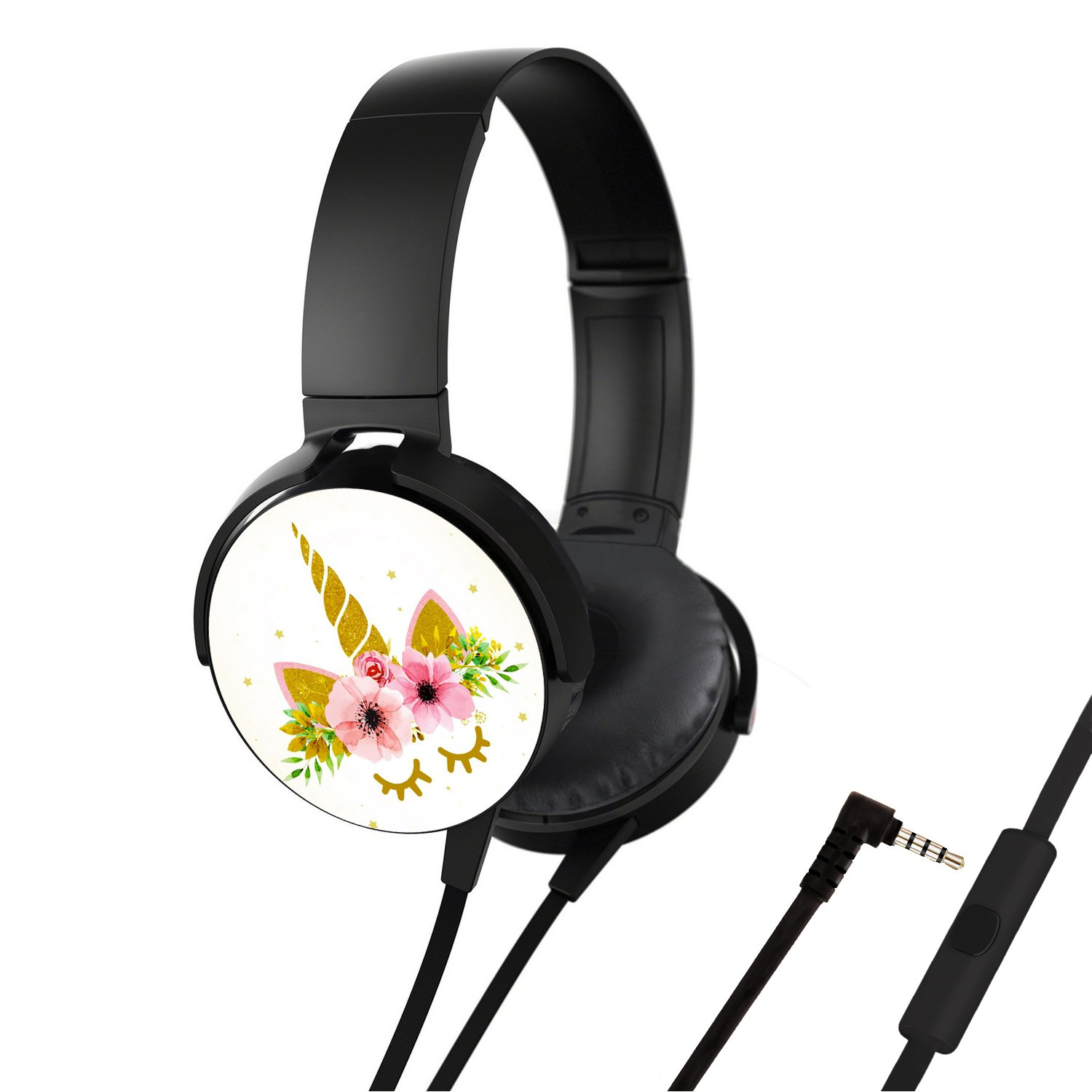 Portable Headsets, Bass Stereo Wired Over Ear Headphones Build-in Mic for Smartphones iPhone PC Laptop, Customized Design with Soft Earmuff, Noise Cancellation - Golden Unicorn