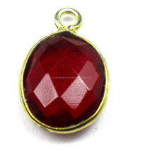 Red Quartz Oval Cut Gemstone Bezel Pendant