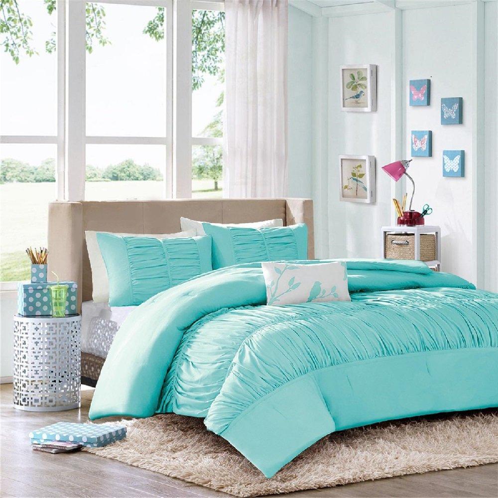 Modern Girls Kids Teen Bedding Aqua Light Blue Tufted Ruffled Ruched Comforter Set Includes Bonus Sleep Mask From Designer Home (Twin/twin Xl)