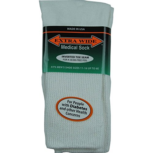 Extra-Wide Medical Crew (Mid-Calf) Socks for Men (11-16 (up to 6E wide)-White