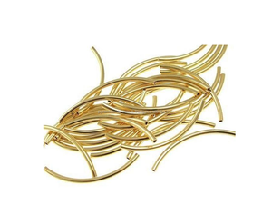 Gold Plated Curved Tube Beads - Jewelry Findings - Loose Bead For Making Jewelry