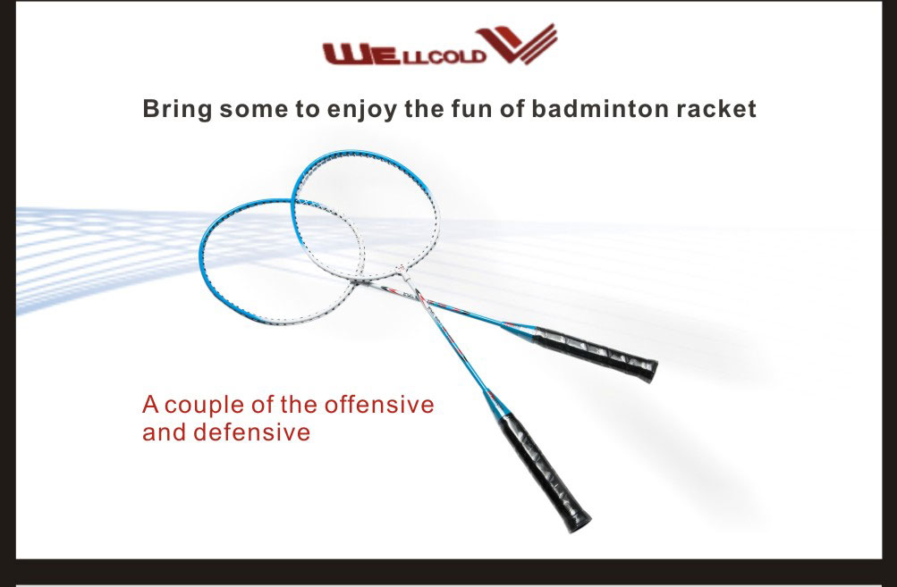 Custom made professional badminton racket with racket badminton shuttlecock