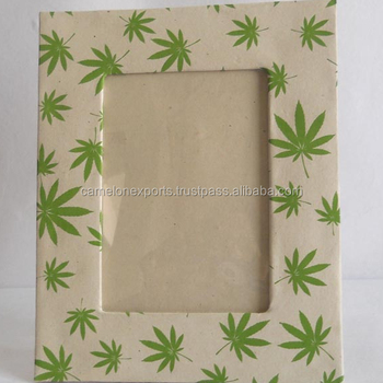 Eco friendly 100% hemp paper printed hemp leaves photo frame