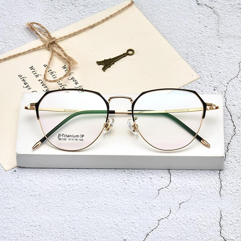 Most popular titanium temple meta optical eyeglass frames  low MOQ optical frames ultralight eyewear for women