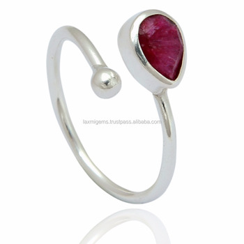 1aa802156 Wholesale Faceted Ruby Gemstone Adjustable 925 sterling Silver Ring Jewelry