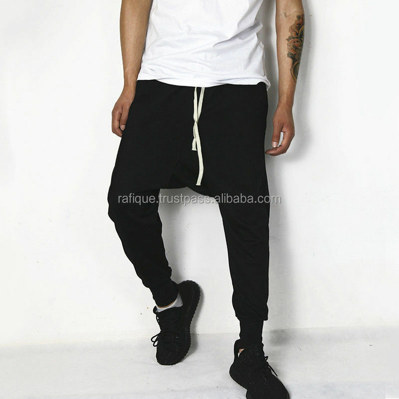 Men's Joggers in black with Back Pockets/Drop Crotch Design Sweatpants/Men sportswear Apparel Elastic waistband Gym Jogger