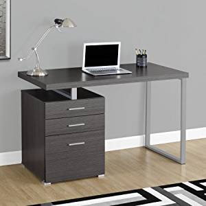 Wooden Modern Computer Desk with 2 Drawers and 1 Bigger Drawer with Door, Wooden Computer Desk, Office Desk with Drawers, Office Furniture, Home and Office Furniture, + Expert Guide (Gray)