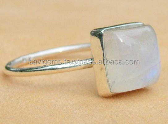 RAINBOW MOONSTONE 925 STERLING SILVER SQUARE CABOCHON RING JEWELRY