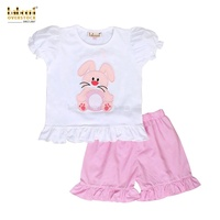 Easter applique clothing set for children girl with bunny pattern ready to ship product smocked children's clothing BB514