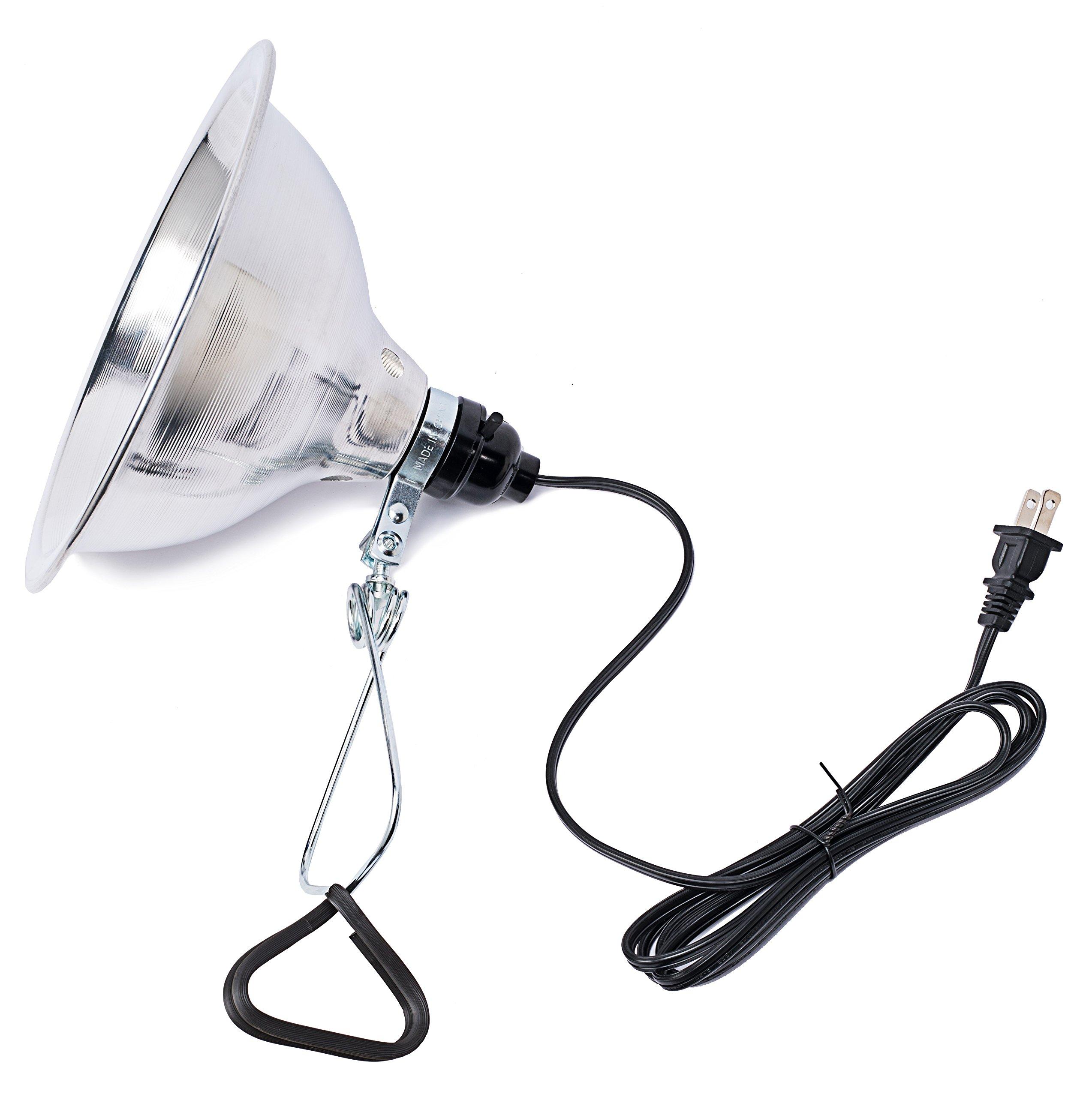 Clamp Lamp Light Clip Light Bed Lamp, w/ 8.5-Inch Reflector, 150-Watt, 18/2 SPT 6 Feet Cord, UL Listed by The Dawson Bros
