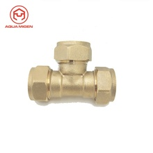 15mm Igual <span class=keywords><strong>Tee</strong></span> Latão Compression Fittings Para para o Mercado Russo