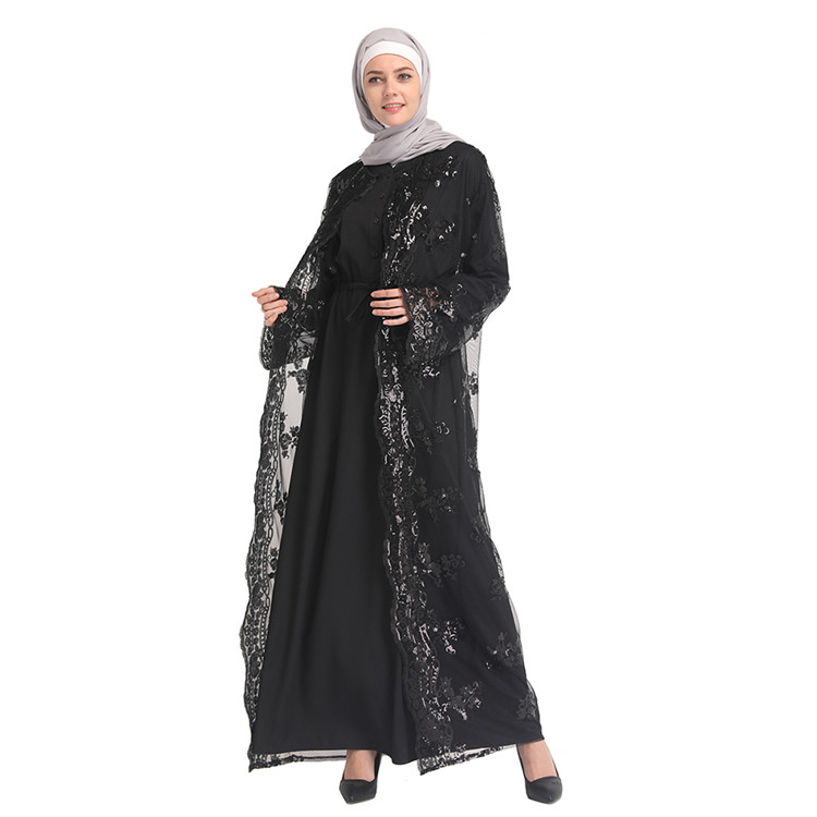 Sequines 2019 Latest Designs Fashionable Black Muslim Clothes Woman Saudi Arabia Thobe Navy Blue Cardigan Sweater For Women