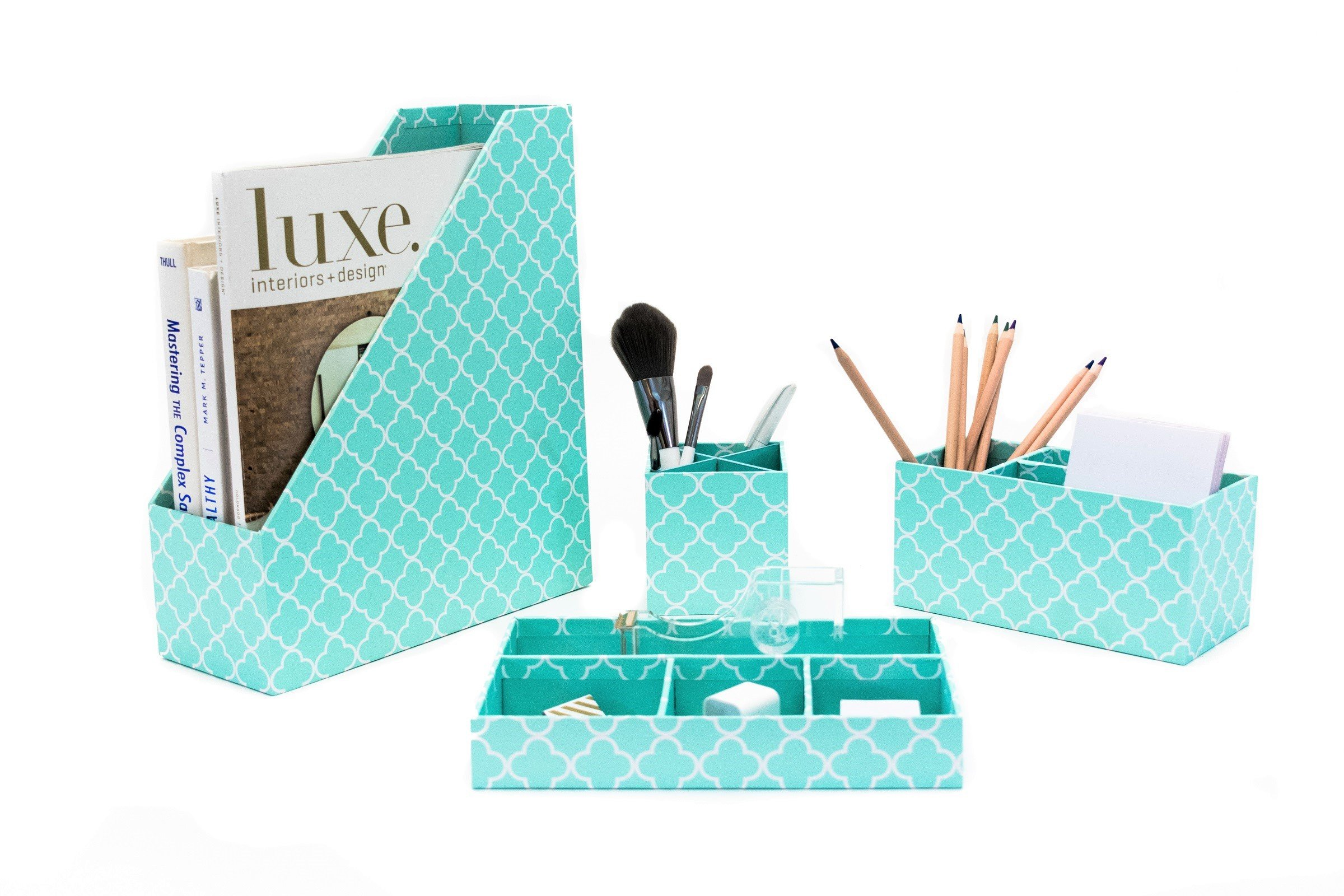 Blu Monaco Turquoise Desk Organizer for Women - 4 Piece Desk Accessories Set - Letter - Mail Organizer, Sticky Note Holder, Pen Cup, Magazine File Holder - Teal Aqua Clover