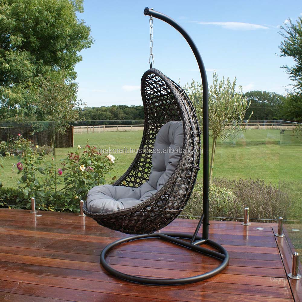 Steel Frame Power Coated Synthetic Rattan Wicker Patio Hanging Chair Outdoor Swing Egg Chair Black Color Gray Cushion Buy Gantung Rotan Telur Kursi Outdoor Swing Kursi Rotan Ayunan Telur Kursi Product