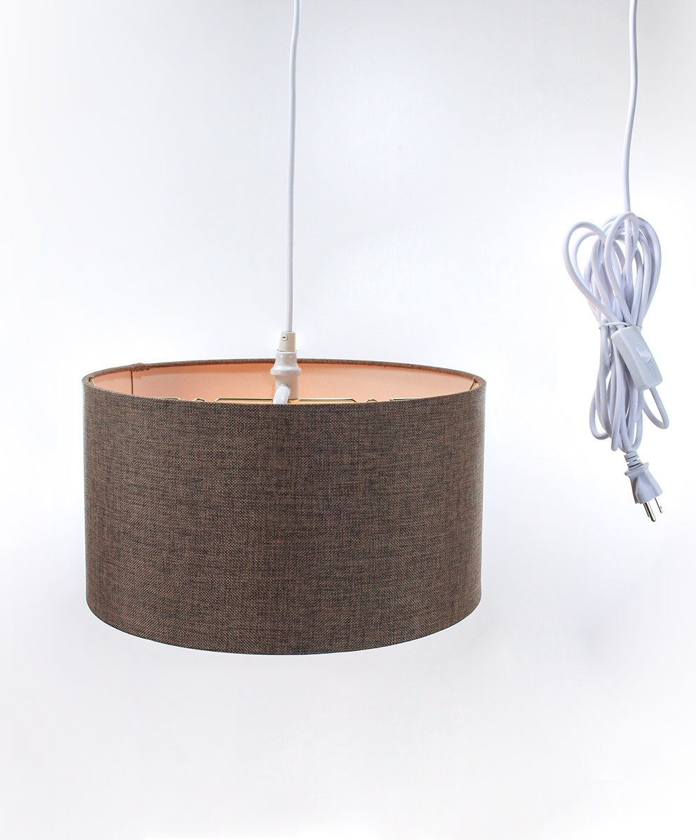 2 Light Plug-in Pendant Light by Home Concept - Hanging Swag Lamp Shallow Drum Chocolate Burlap - Perfect for Apartments, Dorms, No Wiring Needed (Brown, White Two-Light)