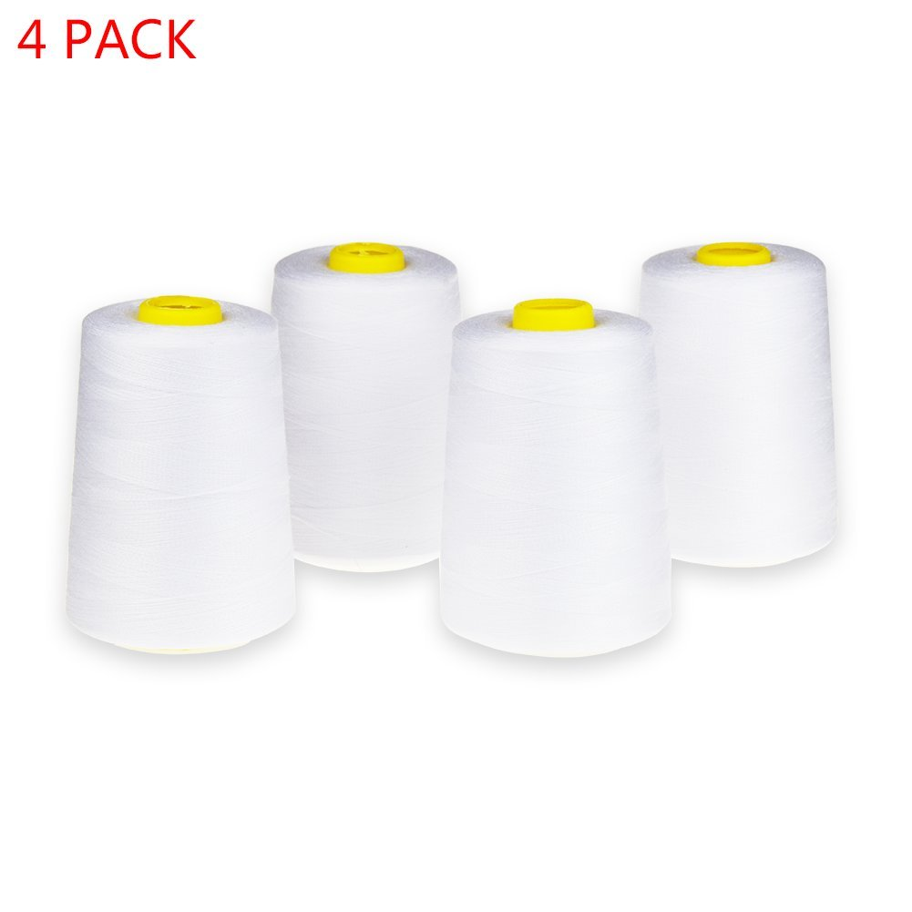 Candora 4 Cones (6000 yards each) Sewing Threads Polyester Threads Spool of Threads (402#) for Sewing Machine and Hand (6000Y-White)