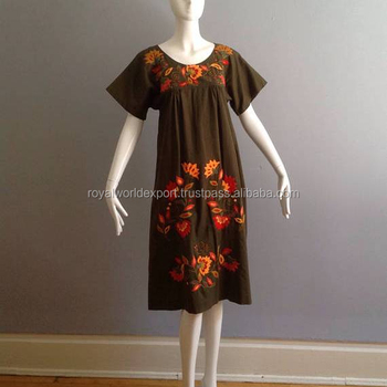 Hand Embroidery Stylish Tunic Kaftan Mexican Embroidery Western Wear