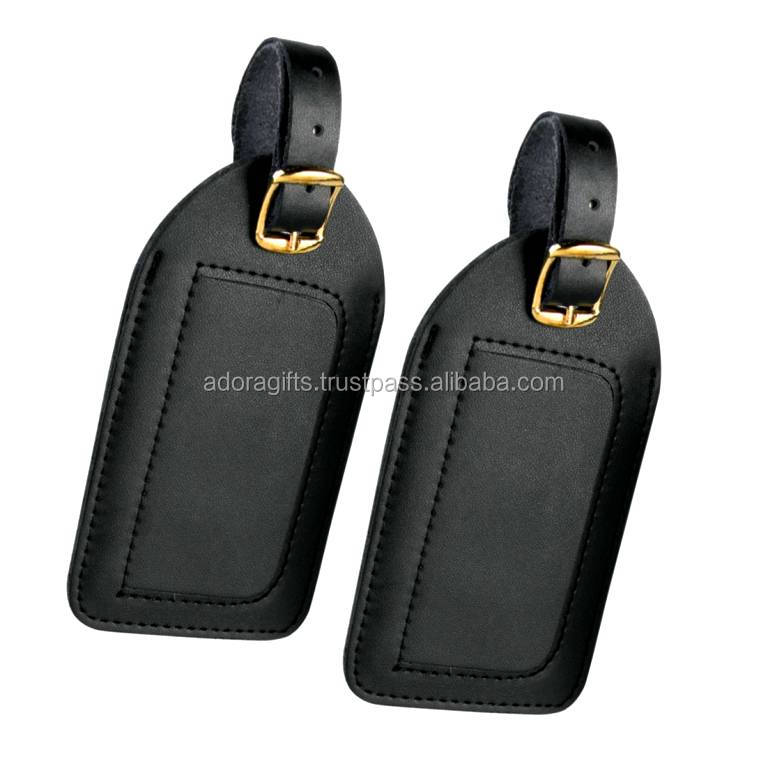 Black embossed lugagge tag with buckle strap