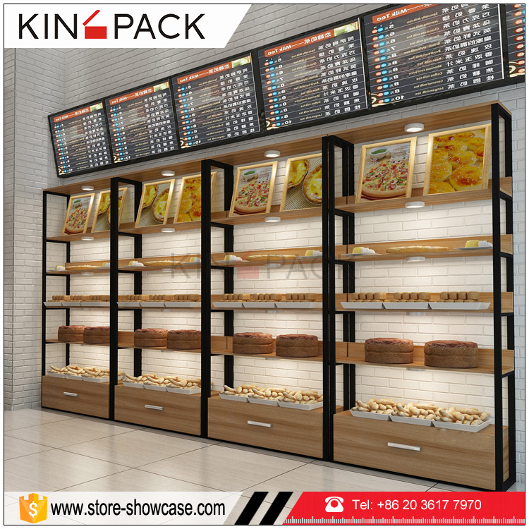 Wood Stand Bakery Display Rack Cases Pastry Counter For