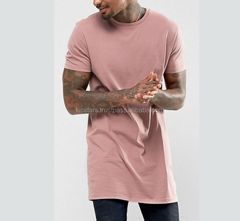 Hip Hop Mens Long Line T Shirts 100% Cotton White Plain Long T Shirts Extra 146abfca9df