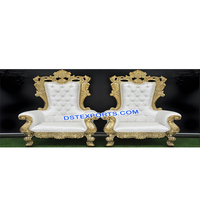 Latest Design Wedding Bollywood Chairs 2018, Golden Carved Wedding Chairs Set, Latest Wedding Bride Groom Chairs Set