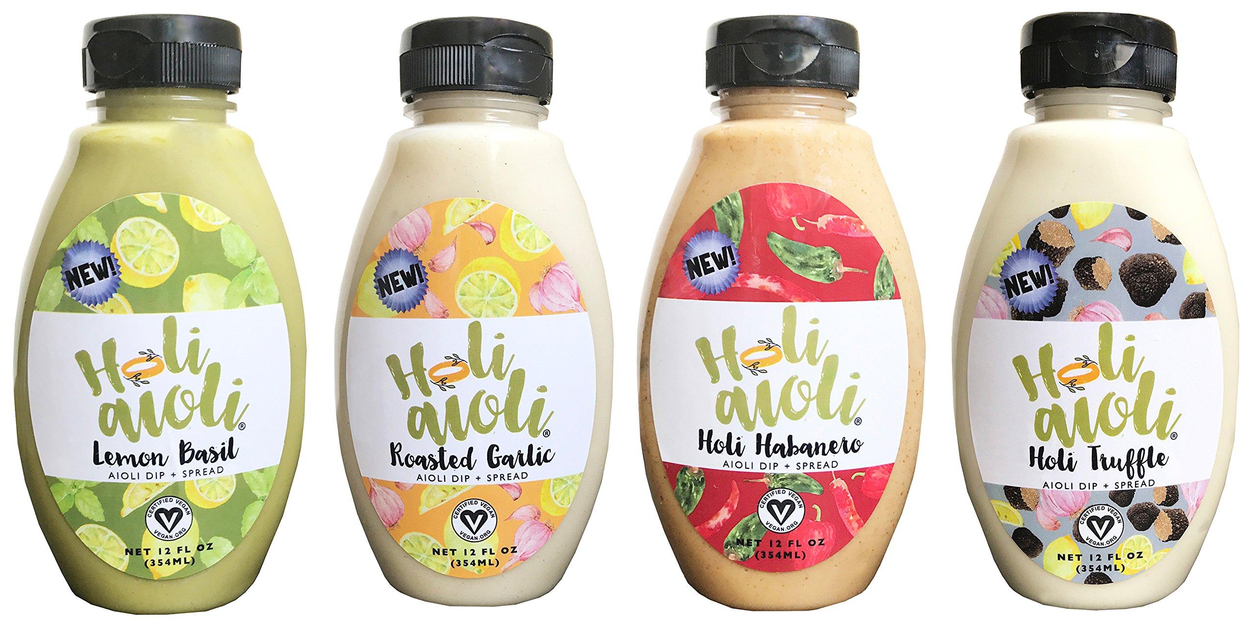 Holi Aioli Variety Pack - Habanero, Truffle, Lemon Basil & Roasted Garlic Sandwich Spread & Mayonnaise Alternative - Vegan Dressing Dip - Mayo Replacement Salad Dressing - 12 Fluid Ounces, Pack of 4