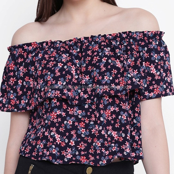 7f78536377752 2018 Hot new product for women fashion off the shoulder crop top with  Floral print throughout