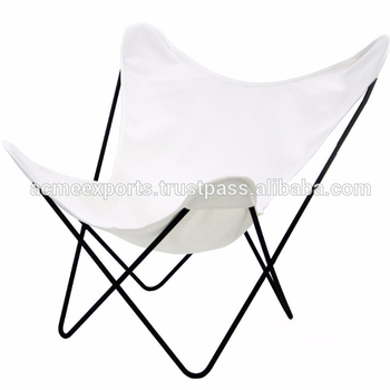 White Leather Folding Long Lasting Erfly Chair With Iron Stand
