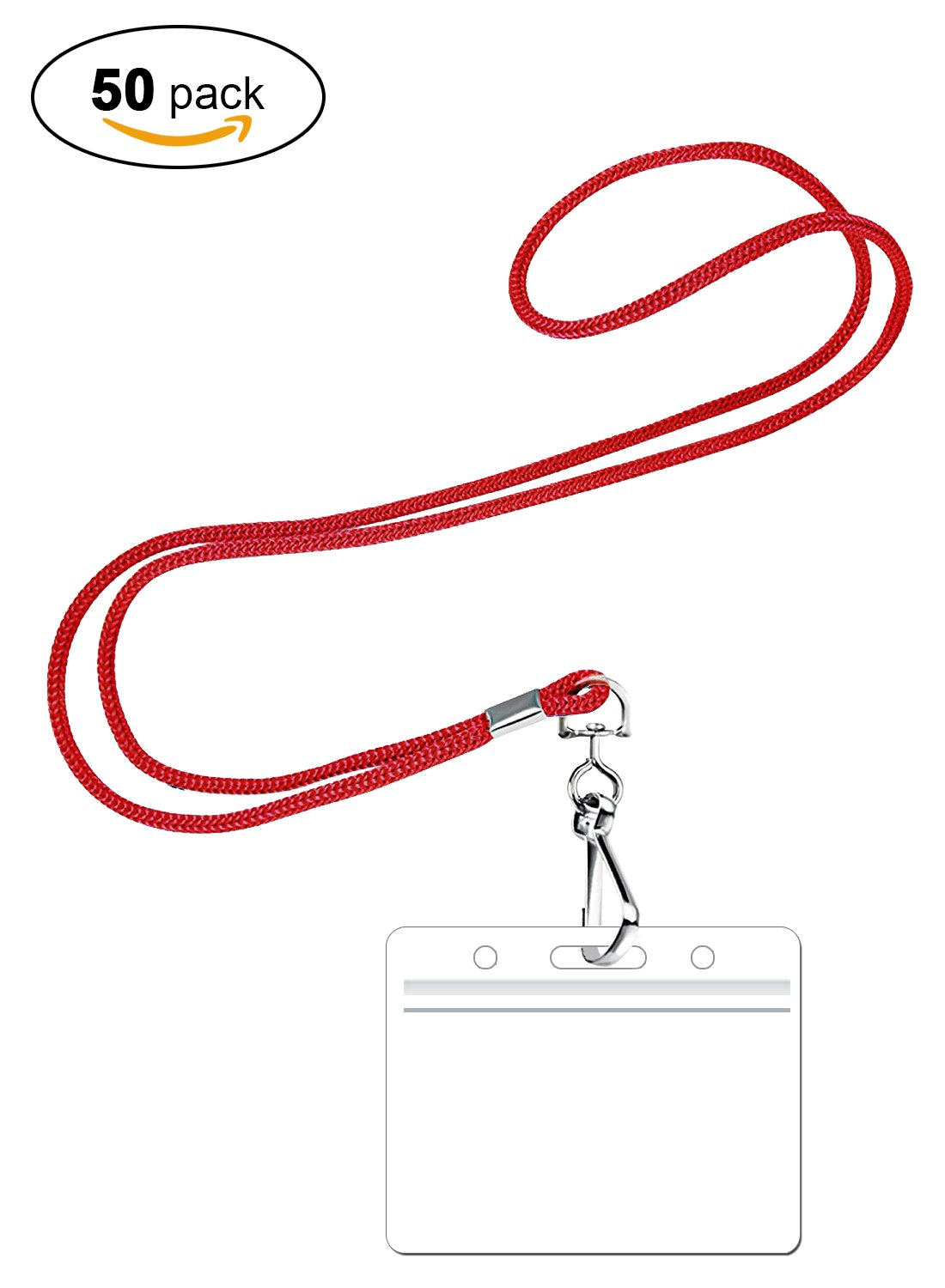 PROMOKING Woven Lanyard with Horizontal ID Badge Holder and Swivel Hook Available In 3 Colors | Red, Royal Blue, Black (50pk, Red)